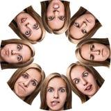 Collage de la mujer con diversas emociones Fotografía de archivo