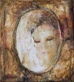 Collage de la mujer con la máscara veneciana imagen de archivo