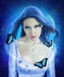 Collage de la mujer de la mariposa de la noche Imagen de archivo libre de regalías