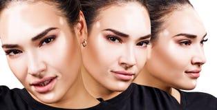 Collage de la mujer hermosa con vitiligo en camiseta negra Imagen de archivo