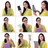 Collage de la mujer india alegre joven con diversas expresiones sobre blanco Fotografía de archivo
