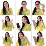 Collage de la mujer india alegre joven con diversas expresiones sobre blanco Imagenes de archivo