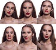 Collage de la mujer morena bonita con diverso expressio facial foto de archivo