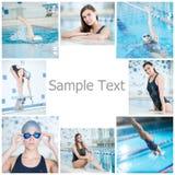 Collage de la natación de la mujer en la piscina interior Fotos de archivo