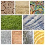 Collage de la naturaleza con las gomas del pared de ladrillo y Imagenes de archivo