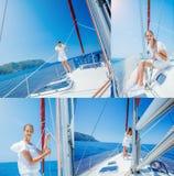 Collage de la navegación de la muchacha en el yate en Grecia Imagenes de archivo