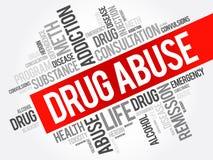 Collage de la nube de la palabra de la tenencia ilícita de drogas stock de ilustración