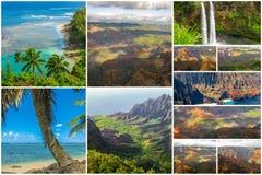 Collage de la opinión aérea de Kauai Imagenes de archivo