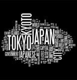 Collage de la palabra de Japón Imagen de archivo
