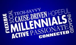 Collage de la palabra de las características de calidades de la generación Y de Millennials Foto de archivo