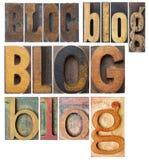 Collage de la palabra del blog Fotografía de archivo