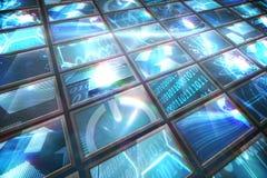 Collage de la pantalla que muestra imágenes computacionales Foto de archivo
