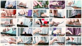 Collage de la pantalla táctil de desplazamiento y que mecanografía del teléfono o de la tableta elegante almacen de metraje de vídeo