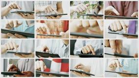 Collage de la pantalla táctil de desplazamiento y que mecanografía del teléfono o de la tableta elegante metrajes
