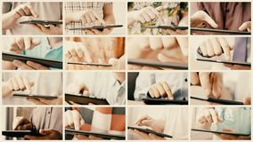 Collage de la pantalla táctil de desplazamiento y que mecanografía del teléfono o de la tableta elegante almacen de video