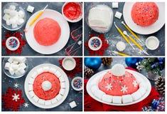 Collage de la preparación de la torta de la Navidad del sombrero de Papá Noel o del sombrero del invierno nuevo Foto de archivo
