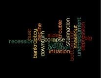 Collage de la recesión de palabras Fotos de archivo