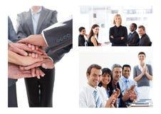 Collage de la reunión de negocios del trabajo en equipo imagen de archivo