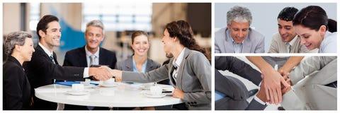 Collage de la reunión de negocios del trabajo en equipo imágenes de archivo libres de regalías