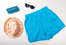 Collage de la ropa y de los accesorios del hombre aislados en blanco Imagen de archivo libre de regalías