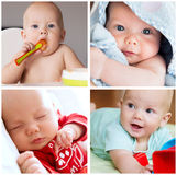 Collage de la rutina diaria del niño del bebé de las fotos, desarrollo, employm Fotografía de archivo