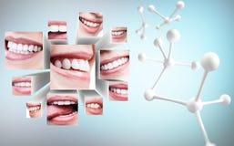 Collage de la sonrisa sana en los cubos 3D con la cadena blanca de la molécula fotos de archivo