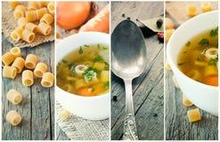 Collage de la sopa vegetal foto de archivo libre de regalías