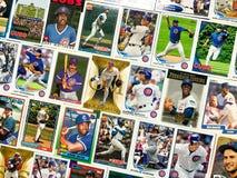 Collage de la tarjeta de comercio del béisbol de los Chicago Cubs imágenes de archivo libres de regalías