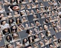 Collage de la variedad de los cuadros de la manera y del maquillaje Fotos de archivo