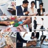 Collage de la vida empresarial Concepto de trabajo en equipo, de sociedad y de inicio foto de archivo
