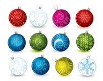 Collage de las bolas de la Navidad stock de ilustración