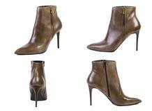 Collage de las botas del marrón de la primavera de los zapatos para los zapatos de las mujeres en un fondo blanco, tienda en líne Imagen de archivo