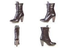 Collage de las botas del marrón de la primavera de los zapatos para los zapatos de las mujeres en un fondo blanco, tienda en líne Fotos de archivo libres de regalías