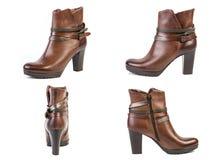 Collage de las botas del marrón de la primavera de los zapatos para los zapatos de las mujeres en un fondo blanco, tienda en líne Foto de archivo libre de regalías