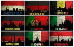 Collage de las ciudades famosas de Europa occidental libre illustration