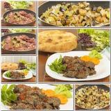 Collage de las comidas del hígado de pollo frito Fotos de archivo libres de regalías