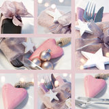 Collage de las decoraciones de la tabla de la Navidad Fotografía de archivo libre de regalías