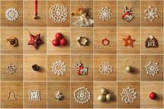 Collage de las decoraciones del árbol de navidad Fotografía de archivo