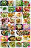 Collage de las ensaladas Imagen de archivo libre de regalías