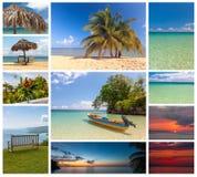Collage de las escenas del día de fiesta de la playa Imágenes de archivo libres de regalías