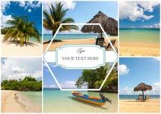 Collage de las escenas del día de fiesta de la playa Fotos de archivo libres de regalías
