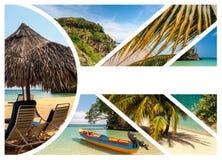 Collage de las escenas del día de fiesta de la playa Fotos de archivo