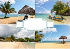 Collage de las escenas del día de fiesta de la playa Imagenes de archivo