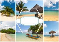 Collage de las escenas del día de fiesta de la playa Imagen de archivo libre de regalías