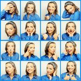 Collage de las expresiones de la cara de la mujer joven Foto de archivo