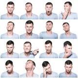 Collage de las expresiones negativas y positivas de la cara Imágenes de archivo libres de regalías
