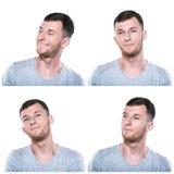 Collage de las expresiones soñadoras de la cara imagen de archivo