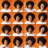 Collage de las expresiones y de las emociones del hombre joven fotos de archivo