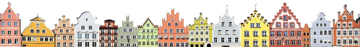 Collage de las fachadas de Landshut. Imagenes de archivo