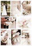 Collage de las fotos de la boda fotos de archivo